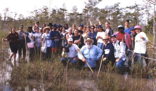 Elam and Clyde with Broward County art students in Big Cypress Swamp