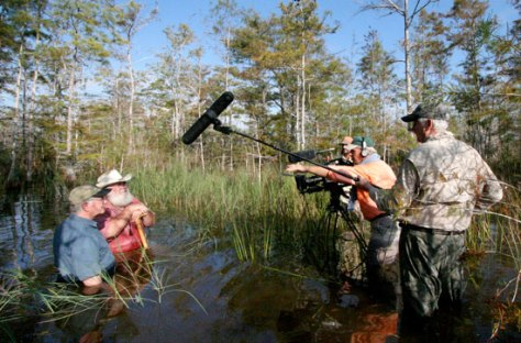 Elam Stoltzfus filming Joe Browder and Clyde Butcher in the Big Cypress Swamp.