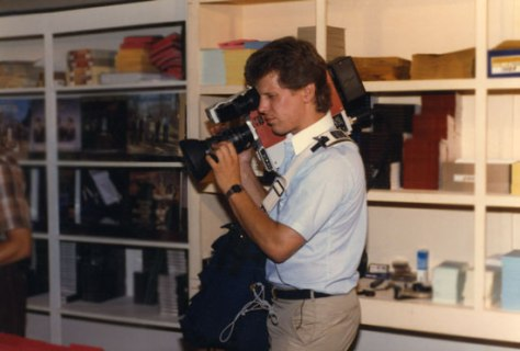 Elam with a broadcast video camera in 1984, his start in the industry.